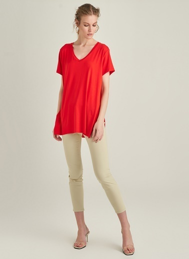 Ng Style Bol Kesim V Yaka Tişört Kırmızı